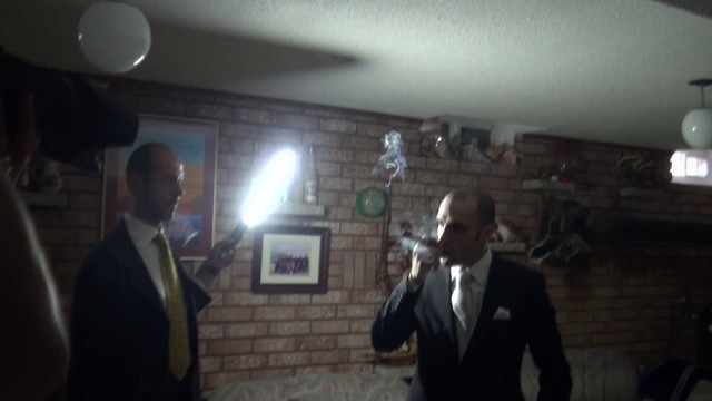 A Groom's Cigar Shot Lit with the Ice Light