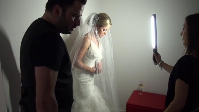 Elegant Bridal Portrait Lit by the Ice Light