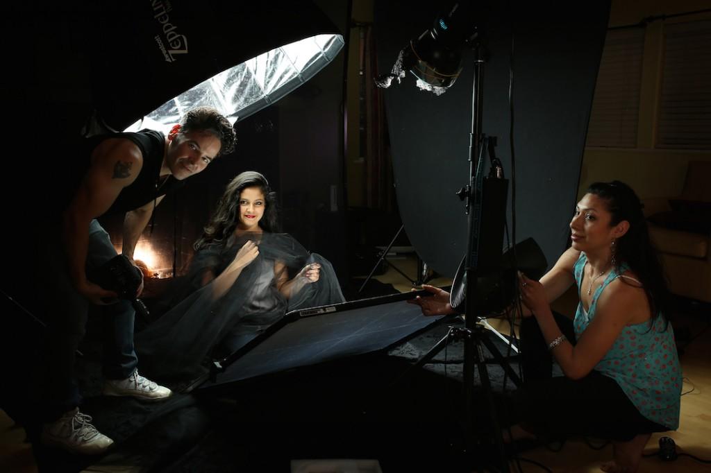 BTS shot of Hernan Rodriguez with the Zeppelin