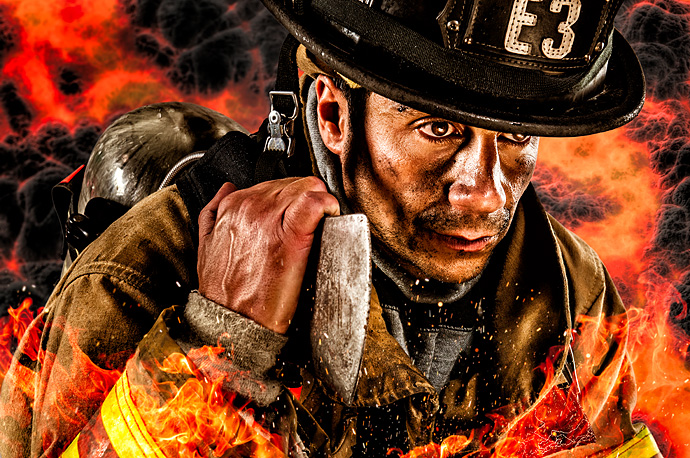 Fireman in composite image
