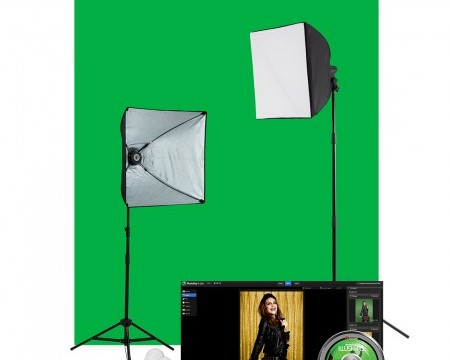 Enhanced Green Screen Photo Lighting Kit