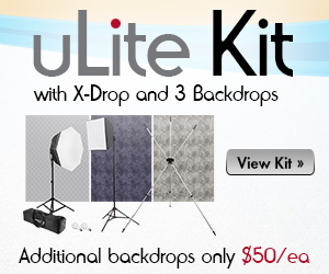 uLite 2-Light Kit with X-Drop Stand and 3 Backdrops - On Sale Now!!